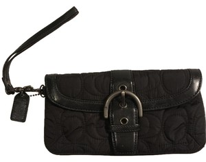 Coach Quilted Casual Textured Black Clutch