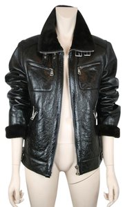 Dolce&Gabbana Leather Shearling Motorcycle Bomber BROWN Leather Jacket
