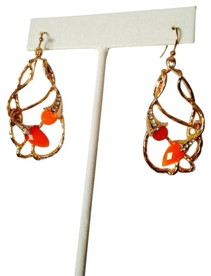 Neiman Marcus Faceted Fire Opal Tulips With Swarovski Crystal Earrings