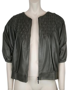 Escada Taupe Brown Bomber Motorcycle BROWN, TAUPE Leather Jacket