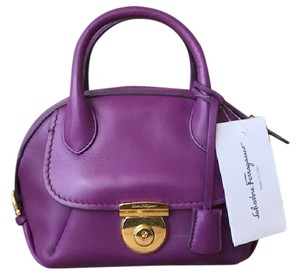 Salvatore Ferragamo Leather Crossbody Satchel in Purple