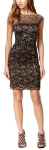 INC International Concepts Metallic Sheath Scalloped Lace Dress