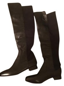 Louise et Cie Over The Knee Designer Leather Elastic Sides black Boots