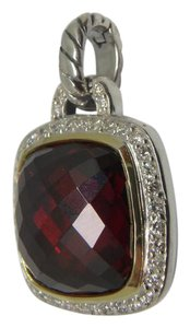 David Yurman 14mm garnet with paved diamond and 18k gold charm in sterling silver