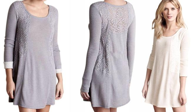 Anthropologie short dress Grey Soft Thermal Cozy + Warm Lived In Lace Feminine on Tradesy Image 1