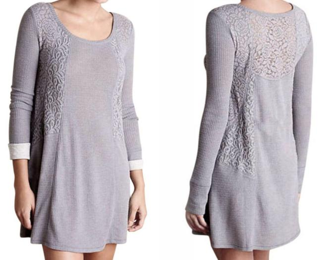 Anthropologie short dress Grey Soft Thermal Cozy + Warm Lived In Lace Feminine on Tradesy Image 2