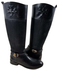 Tory Burch Leather Textile Lining Rubber Sole S/n 32148403 Black Boots