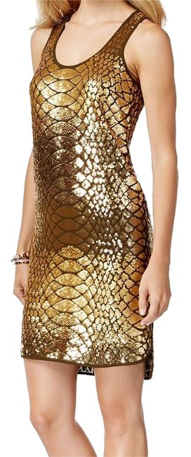 Michael Kors Gold Mid-length Cocktail Dress Size Petite 8 (M) Michael Kors Gold Mid-length Cocktail Dress Size Petite 8 (M) Image 1