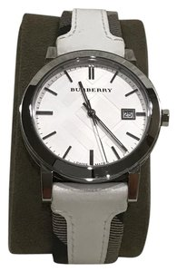 Burberry Swiss the city Haymarket check leather strap watch