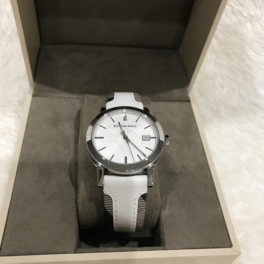Burberry Swiss the city Haymarket check leather strap watch Image 1