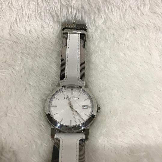 Burberry Swiss the city Haymarket check leather strap watch Image 2