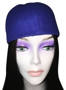 Other Sporty Felt Skullcap; Royal Blue & Tan [ Roxanne Anjou Closet ]