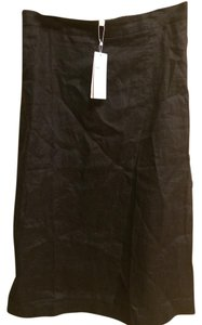 Eileen Fisher Linen Organic Midi Skirt BLACK