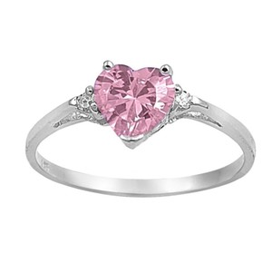 9.2.5 Adorable pink topaz silver heart ring size 6