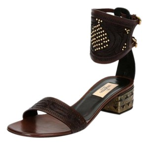 Valentino Studded Leather Brown Sandals