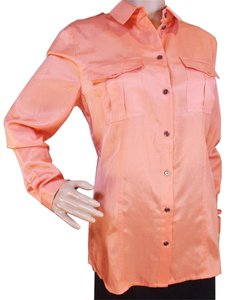 Burberry Silk Long Sleeve Casual Shirt Women Top Salmon