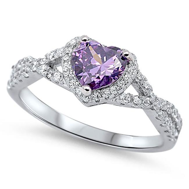 Item - Purple Amethyst and White Sapphire Heart Cocktail Size 8 Ring