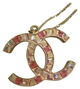 Chanel Chanel CC logo pink crystal large pendant necklace