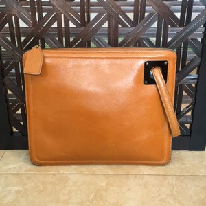 Anne Klein Vintage 1970s Leather Mod caramel Clutch