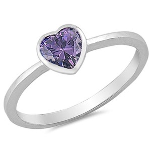 9.2.5 Very cute amethyst silver heart ring size 6