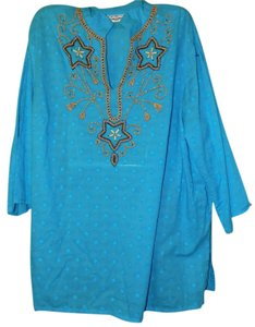 New Directions Plus-size Beaded Sheer Embellished Bold Tunic