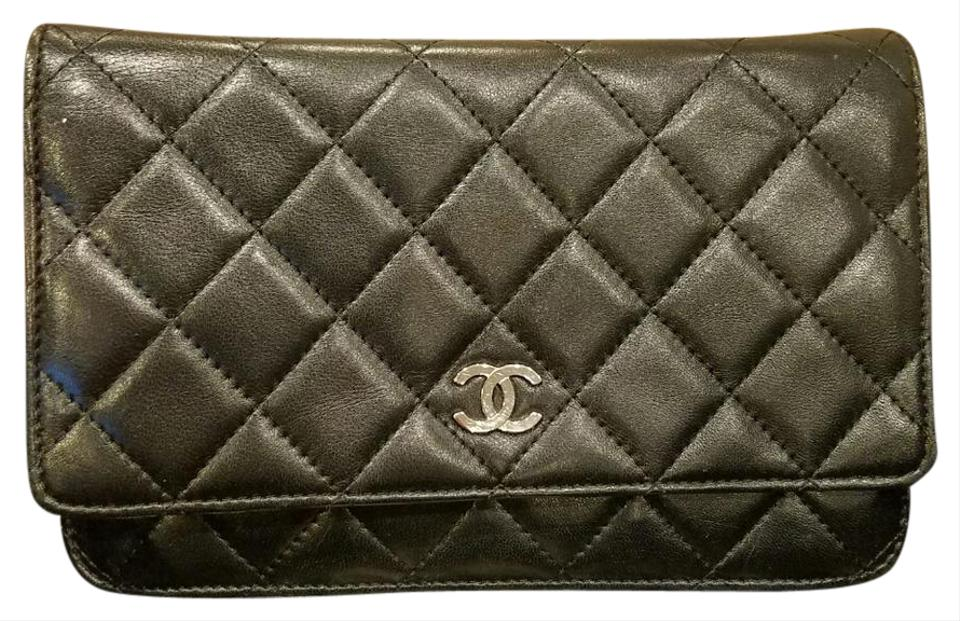 Chanel Wallet on Chain Lambskin Black Woc Silver Hardware Leather ... 3fb85ac497383