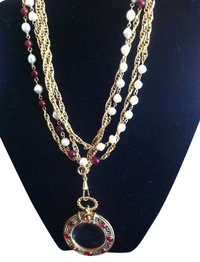 Chanel Long, Double Strand, CHANEL Necklace With Pearls/Red Gripoix And Magnifying Glass - 1985