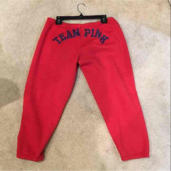Victoria's Secret Red Pink Cropped Sweats Activewear Bottoms Size 8 (M) Victoria's Secret Red Pink Cropped Sweats Activewear Bottoms Size 8 (M) Image 2