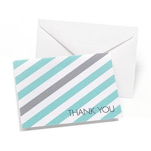 Lagoon And Slate Simple Stripe Thank You Cards For Wedding 50 Count