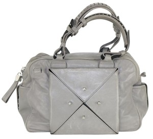 Allibelle Rocker Spike Studded Silver Hardware Satchel in Grey