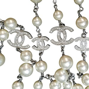 Chanel Chanel classic long pearl necklace 5 station rhinestone CC