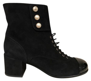 Chanel Suede Patent Pearl Lace black Boots