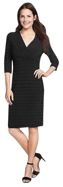 Preload https://img-static.tradesy.com/item/20645552/adrianna-papell-black-v-neck-pin-tuck-ruffle-mid-length-workoffice-dress-size-petite-10-m-0-1-650-650.jpg