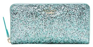 Kate Spade Kate Spade Baby Blue Glitter Bug Zip Around Lacey Wallet Pwru4540