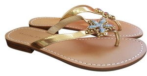 Ivanka Trump Gold/Blue Rhinestone Embellishment Sandals