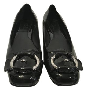 Cole Haan System Black patent leather silver metal ring NikeAir C width Flats