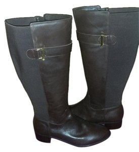 Isaac Mizrahi Live! Round Toe Leather Gold Hardware Grooved Inner-side Zipper Dark Brown Boots