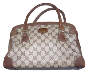 Gucci Doctor's Classic Style Great For Everyday Perfect Gg Web Style Satchel in brown large G logo coated canvas & brown leather