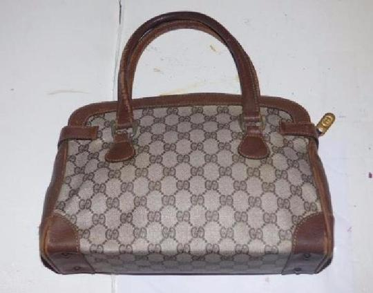 Gucci Doctor's Classic Style Great For Everyday Perfect Gg Web Style Satchel in brown large G logo coated canvas & brown leather Image 1