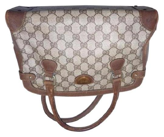 Gucci Doctor's Classic Style Great For Everyday Perfect Gg Web Style Satchel in brown large G logo coated canvas & brown leather Image 11