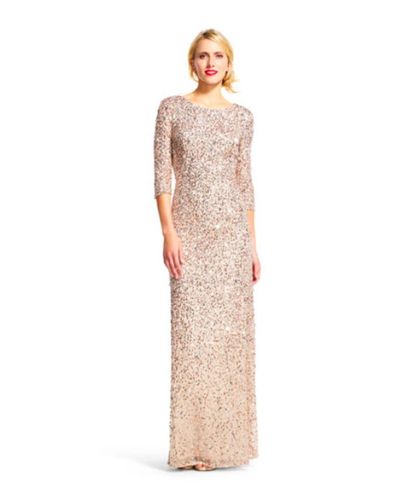 Adrianna Papell Champagne Silver Scoop Back Sequin Gown Long Formal ...