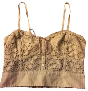 American Eagle Outfitters Corset Crop Top Beige and Gray Ombre