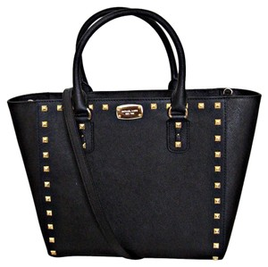 Michael Kors Saffiano Leather Mk Gold Studding Strap Mk Satchels Tote in Black