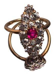 Russian pre-revolution marquise set diamond/ruby ring n/a