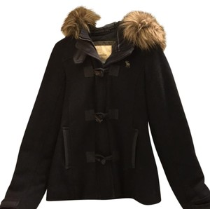 Abercrombie & Fitch Fur Navy Toggle Winter Warm Pea Coat