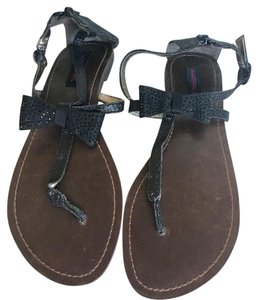 Material Girl Black Glitter/Brown Sandals
