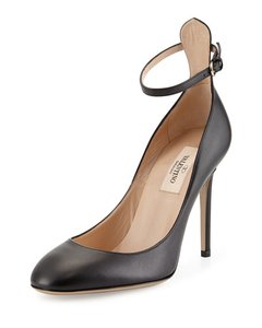 Valentino Smooth Leather Ankle Black Pumps