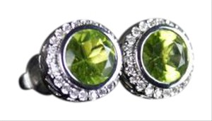 Hemari Peridot Studs With Diamond Halos in 18k White Gold