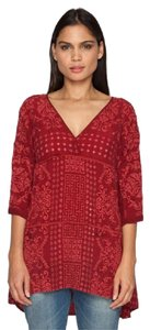 Johnny Was V-neck Floral Eyelet Embroidered Tunic