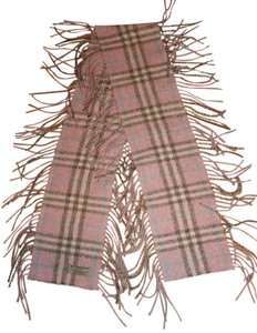 Burberry London MADE IN SCOTLAND Burberry PINK Nova Check Happy Fringed Scarf